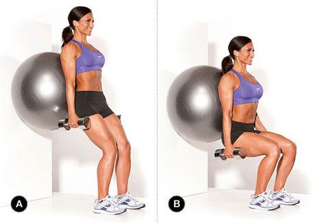 Wall Squat - Stability Ball