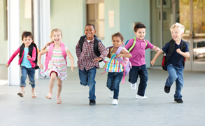 kids running home after school