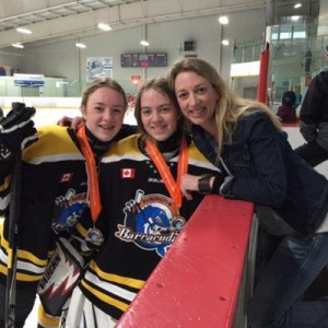 JCole and two of her girls - hockey